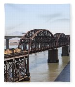 Union Pacific Locomotive Trains Riding Atop The Old Benicia-martinez Train Bridge . 5d18849 Fleece Blanket