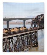 Union Pacific Locomotive Trains Riding Atop The Old Benicia-martinez Train Bridge . 5d18850 Fleece Blanket