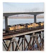 Union Pacific Locomotive Trains Riding Atop The Old Benicia-martinez Train Bridge . 5d18851 Fleece Blanket