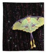 Unique Butterfly Resting On Tree Bark Fleece Blanket