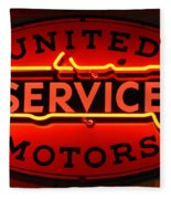 United Motors Service Neon Sign Fleece Blanket