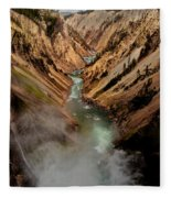 Upper Yellowstone Falls Fleece Blanket