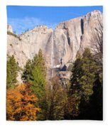 Upper Yosemite Falls In Autumn Fleece Blanket