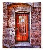 Urban Door In Old Brick Building Fleece Blanket