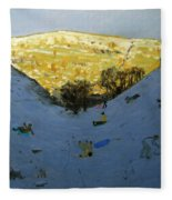 Valley And Sunlit Hillside Fleece Blanket