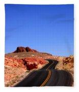 Valley Of Fire Road And Sky Nevada Fleece Blanket