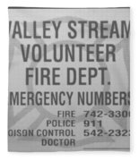Valley Stream Fire Department In Black And White Fleece Blanket