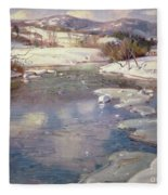 Valley Stream In Winter Fleece Blanket