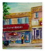Van Horne Bagel And Yangtze Restaurant Sketch Fleece Blanket