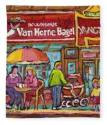 Van Horne Bagel Next To Yangste Restaurant Montreal Streetscene Fleece Blanket