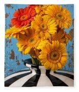 Vase With Gerbera Daisies  Fleece Blanket