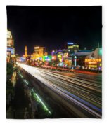Vegas Light Trails Fleece Blanket