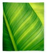 Vibrant Green Leaf Fleece Blanket