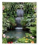 Victorian Garden Waterfall - Digital Art Fleece Blanket