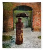 Victorian Lady By Brick Archway Fleece Blanket