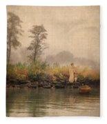 Victorian Lady By Row Boat Fleece Blanket