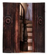 Victorian Lady Descending Stairs Fleece Blanket