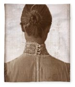 Victorian Lady From Behind Fleece Blanket
