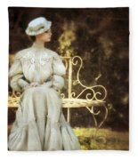 Victorian Lady On Garden Bench Fleece Blanket