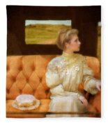 Victorian Lady Riding In A Carriage Fleece Blanket