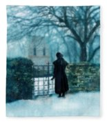 Victorian Woman At The Churchyard Gate Fleece Blanket