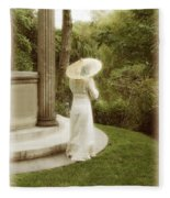 Victorian Woman In Garden With Parasol Fleece Blanket