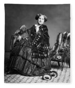 Victorian Woman With Furs C. 1853 Fleece Blanket