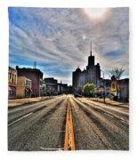 View Down Broadway Into Downtown Buffalo Ny Vert Fleece Blanket