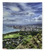 View From Diamond Head Fleece Blanket