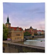 View From The Charles Bridge Revisited Fleece Blanket
