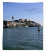 View Of Alcatraz From A Boat That Is Leaving The Island Fleece Blanket
