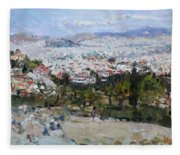 View Of Athens From Acropolis Fleece Blanket