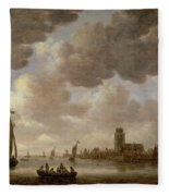 View Of Dordrecht Downstream From The Grote Kerk Fleece Blanket