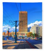 View Of Downtown Buffalo From The Tracks Fleece Blanket