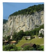 View Of Greenery And Waterfalls On A Swiss Cliff Fleece Blanket