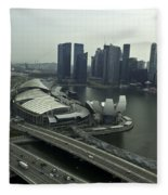 View Of Marina Bay Sands And Other Buildings From The Singapore  Fleece Blanket