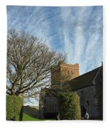 View Of St Mary Church And Clouds In Dover Castle Fleece Blanket