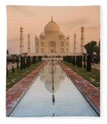 View Of Taj Mahal Reflecting In Pond Fleece Blanket