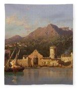 View Of Taormina Sicily Fleece Blanket