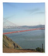 View Of The Golden Gate Bridge And San Francisco From A Distance Fleece Blanket