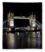View Of The River Thames And Tower Bridge At Night Fleece Blanket