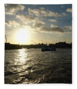 View Of The Thames At Sunset With London Eye In The Background Fleece Blanket