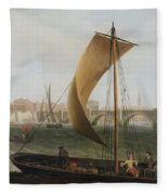 View On The Thames With Westminster Bridge Fleece Blanket