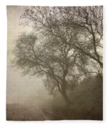 Vigilants Trees In The Misty Road Fleece Blanket
