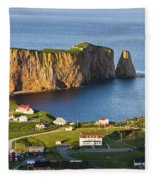 Village And Perce Rock At Sunset Fleece Blanket