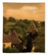 Village Of Castelnau Bretenoux In Sepia Fleece Blanket