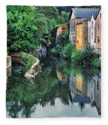 Village Reflections In Luxembourg II Fleece Blanket