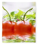 Vine Tomatoes And Salad With Water Fleece Blanket