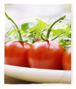 Vine Tomatoes On A Salad Plate Fleece Blanket