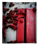 Vines On Red Shutters Fleece Blanket